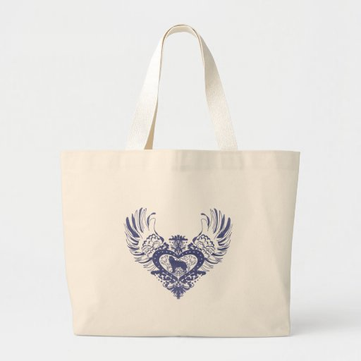 Siberian Husky Winged Heart Jumbo Tote Bag