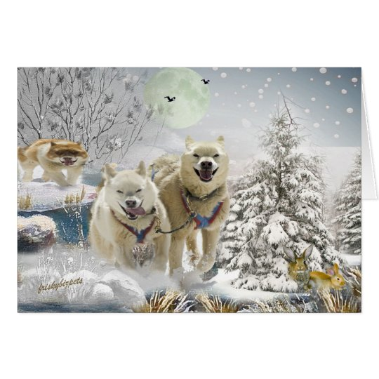 Siberian Husky Winter Scene Card