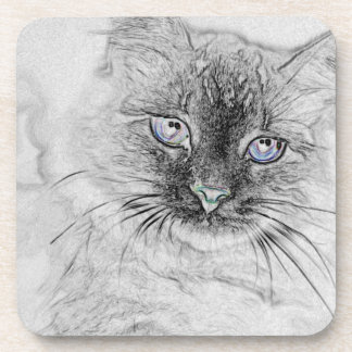 Siberian Kitty Cat Napping on the Marble Slab Coaster