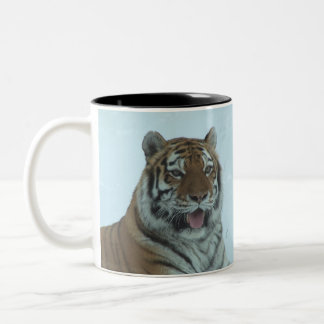 Siberian Tiger Close Up Face 2 Two-Tone Coffee Mug