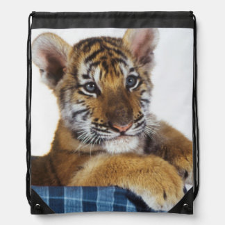 Siberian Tiger Cub in basket Drawstring Bag