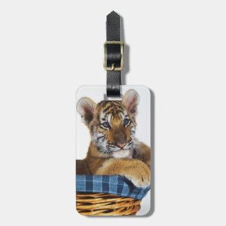 Siberian Tiger Cub in basket Luggage Tag