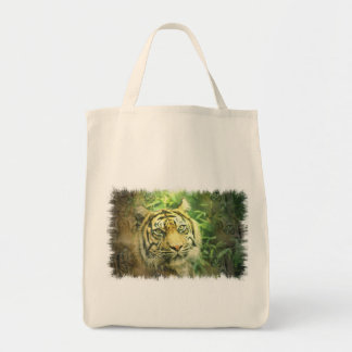 Siberian Tiger Grocery Tote Canvas Bag