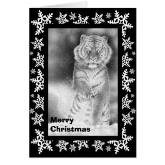 Siberian Tiger in the Snow Christmas Card