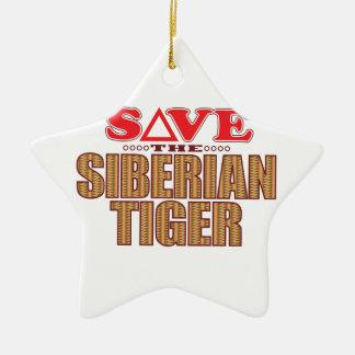 Siberian Tiger Save Ceramic Star Decoration