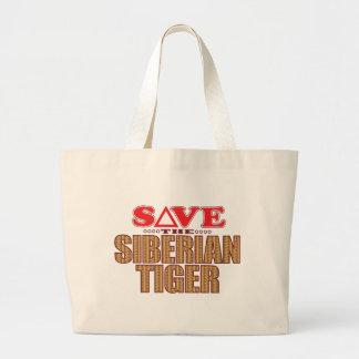 Siberian Tiger Save Large Tote Bag