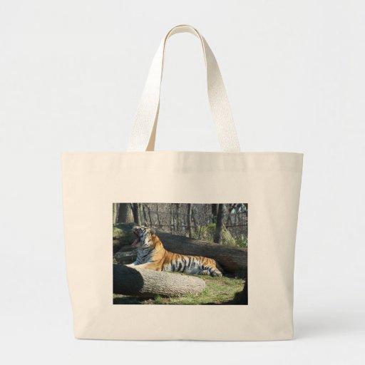 Siberian Tiger Yawning Tote Bag