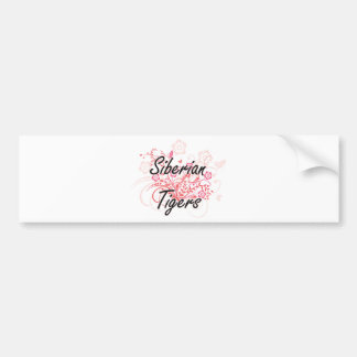 Siberian Tigers with flowers background Bumper Sticker