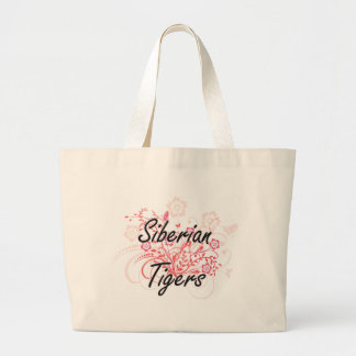Siberian Tigers with flowers background Jumbo Tote Bag
