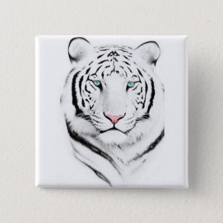 Siberian White Tiger 15 Cm Square Badge