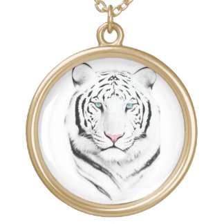 Siberian White Tiger Gold Plated Necklace