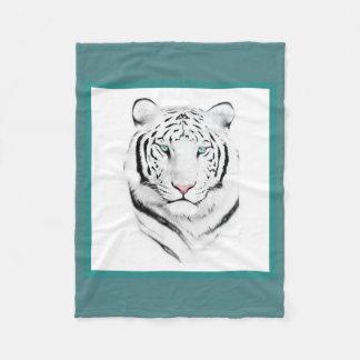 Siberian White Tiger Fleece Blanket