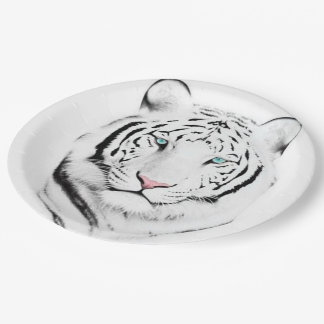 Siberian White Tiger 9 Inch Paper Plate