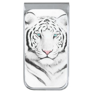 Siberian White Tiger Silver Finish Money Clip