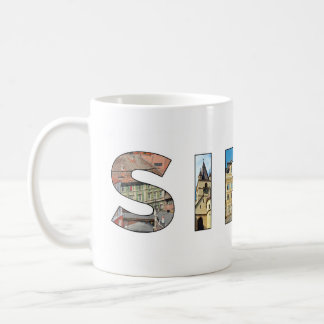 sibiu city romania landmark inside text symbol tra coffee mug