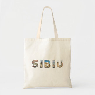 sibiu city romania landmark inside text symbol tra tote bag
