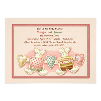Sibling Bunnies Invitation