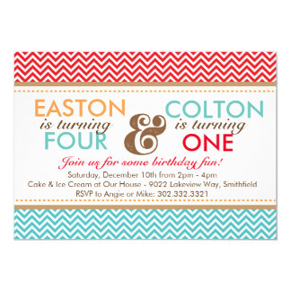 Sibling Chevron (Boys) Birthday Party Invitation