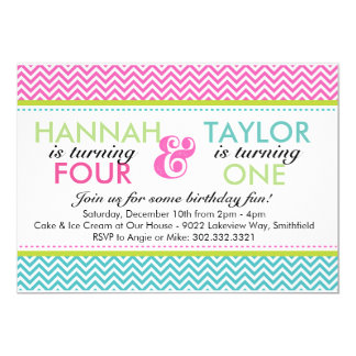 Sibling Chevron (Girls) Birthday Party Invitation