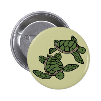 Sibling honu sea turtles button