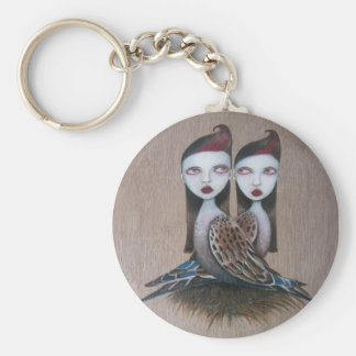 Sibling Rivalry-Chain Basic Round Button Key Ring