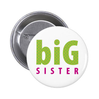SIBLINGS COLLECTION - big sister {lime} 6 Cm Round Badge