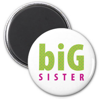 SIBLINGS COLLECTION - big sister {lime} 6 Cm Round Magnet