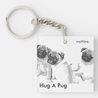 Siblings pug Double-Sided square acrylic key ring