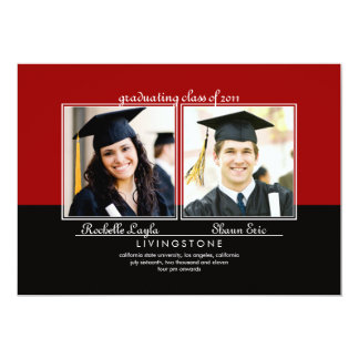 "Siblings Two Photo Graduation Announcement 5"" X 7"" Invitation Card"