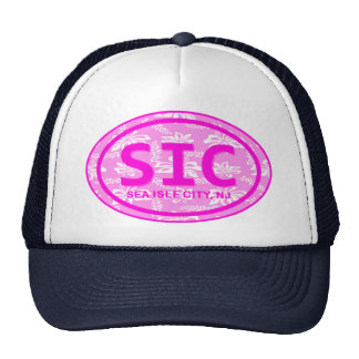 SIC Sea Isle City NJ Pink Floral Beach Tag Hat