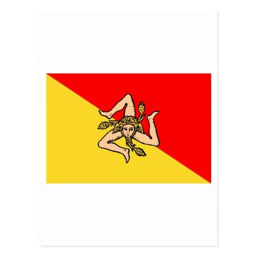 Sicilia flag postcards