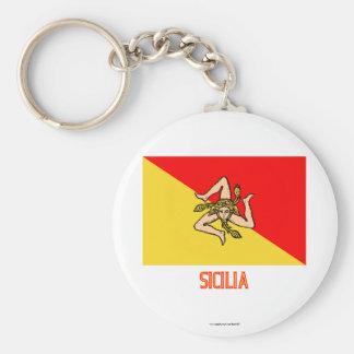 Sicilia flag with name basic round button key ring