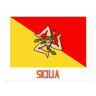 Sicilia flag with name post cards
