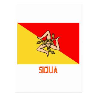 Sicilia flag with name postcards