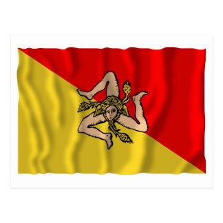 Sicilia waving flag post cards