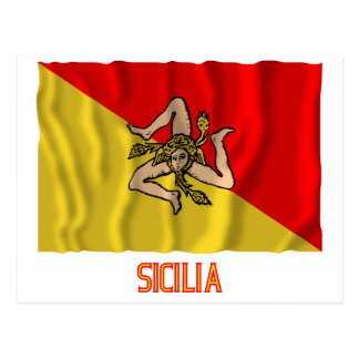 Sicilia waving flag with name post card