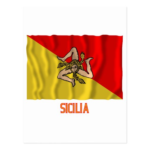 Sicilia waving flag with name post cards