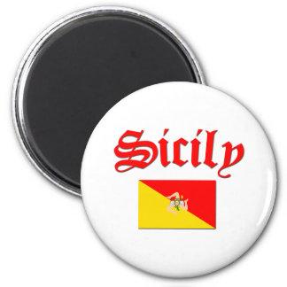 Sicilian Flag 2 6 Cm Round Magnet