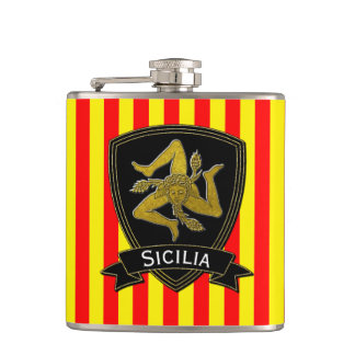 Sicilian Trinacria Black & Gold Red Yellow Hip Flask