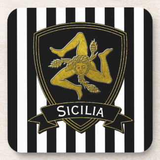 Sicilian Trinacria Black Gold Stripe Coaster