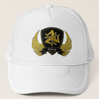 Sicilian Trinacria Black Gold Trucker Hat