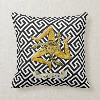 Sicilian Trinacria Greek Key Personalize Cushion