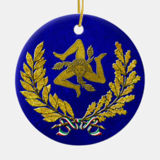 Sicilian Trinacria Heirloom in Gold on Blue Christmas Ornament