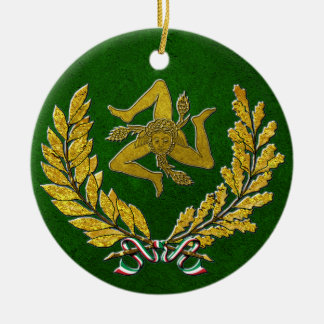 Sicilian Trinacria Heirloom in Gold on Green Christmas Ornament