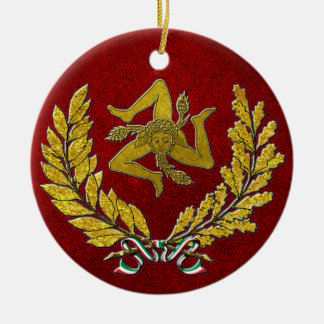 Sicilian Trinacria Heirloom in Gold on Red Christmas Ornament