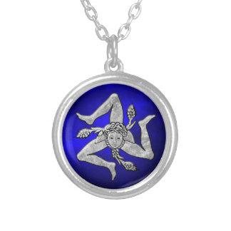 Sicilian Trinacria in Silver Blue Round Pendant Necklace
