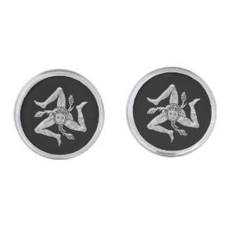 Sicilian Trinacria in Silver Silver Finish Cufflinks