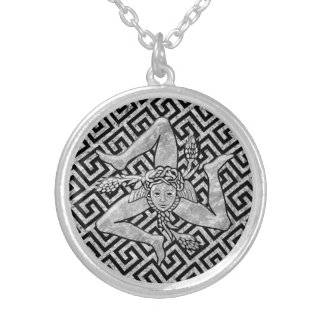 Sicilian Trinacria in Silver Silver Plated Necklace