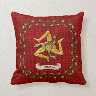 Sicilian Trinacria Olive Wreath Burlap Personalize Cushion