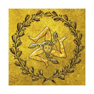 Sicilian Trinacria Olive Wreath in Gold Canvas Print